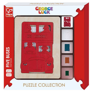 Hape | 6 Piece Wooden Layering Puzzle - Five Buses