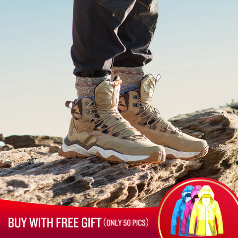 RAX Men Hiking Shoes Mid-top Waterproof Outdoor Sneaker Men Leather  Trekking Boots Trail Camping 2e6ca676a1d9