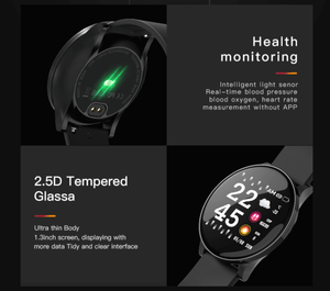 Smart Watch Waterproof Tempered Glass Activity Fitness Tracker Heart Rate Monitor