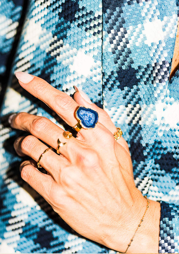 ASGER RING AZURITE GOLD PLATED