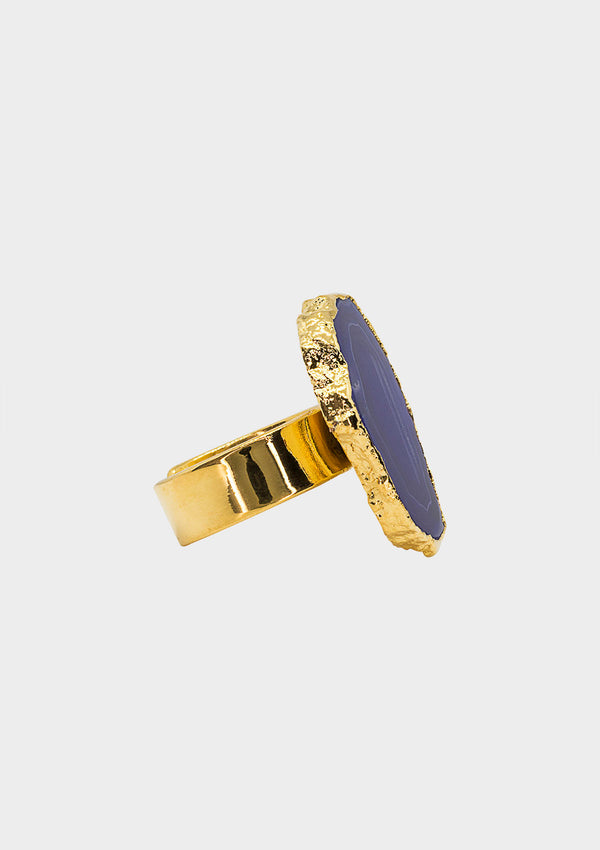 ASGER RING AMETHYST SLICE GOLD PLATED