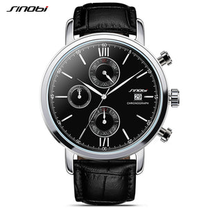 SINOBI Sports Multifunction Men Wrist Watches Leather Watchband Top Luxury Brand Males Chronograph Quartz Clock Boy Wristwatch