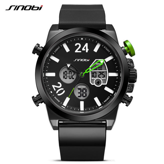 SINOBI Luxury Brand Men Military Sport Watches Men's Digital Quartz Clock Full Steel Chronograph Wrist Watch Relogio Masculino