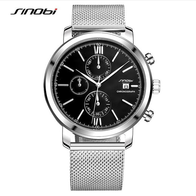 SINOBI men's watch waterproof sports stainless steel watch