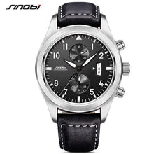 SINOBI top brand luxury chronograph sports leather glowing men's watch