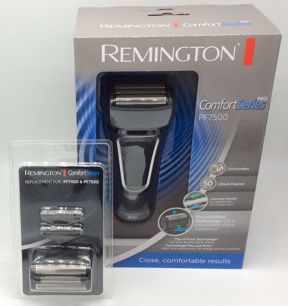 Remington Comfort Series Pro PF7500 Men's rechargeable and mains Electric Shaver plus a spare foil and cutter set. Amazing buy!