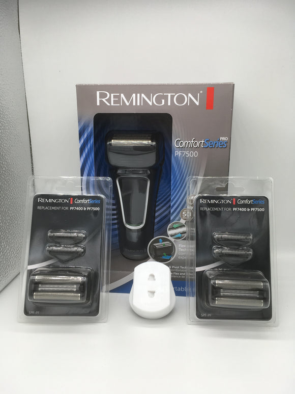 Remington Comfort Series PF7500 men's Rechargeable and Mains Electric Shaver PLUS Two spare foil and cutter sets. AMAZING BUY!