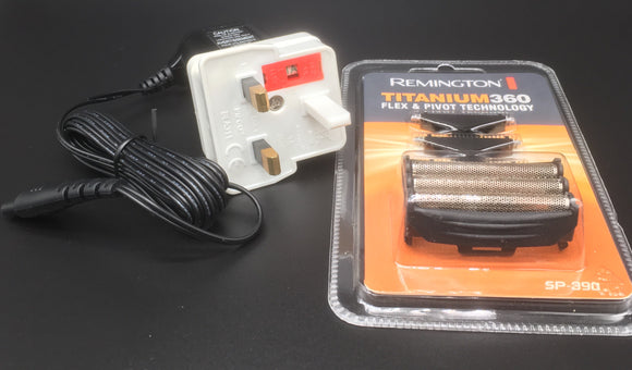Remington F5790 charging lead complete with UK shaver adaptor and a spare foil and cutter set