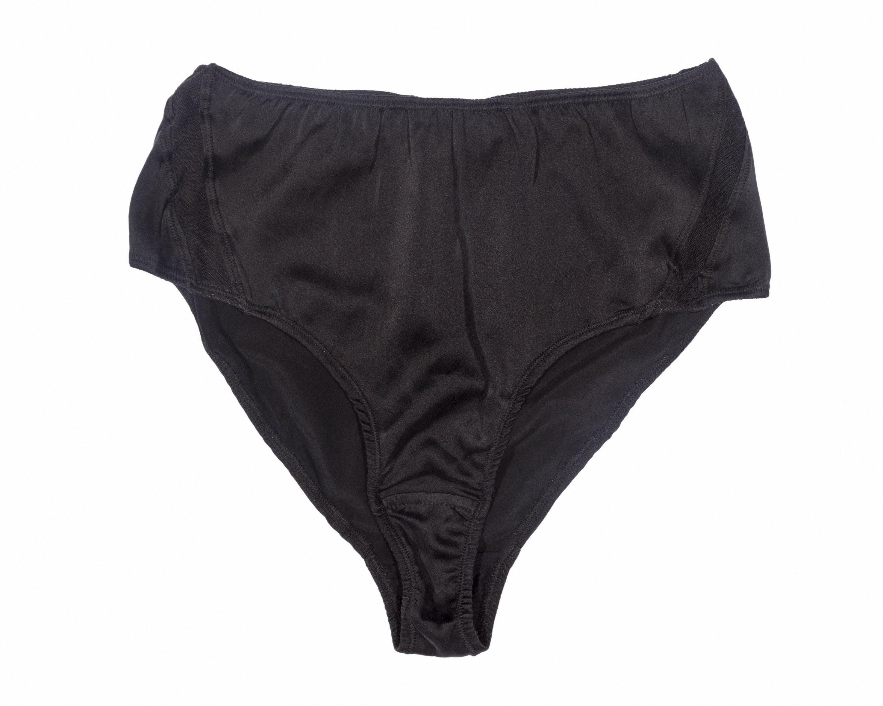 BLAM High-Waist Organic Silk Brief in Pitch Black