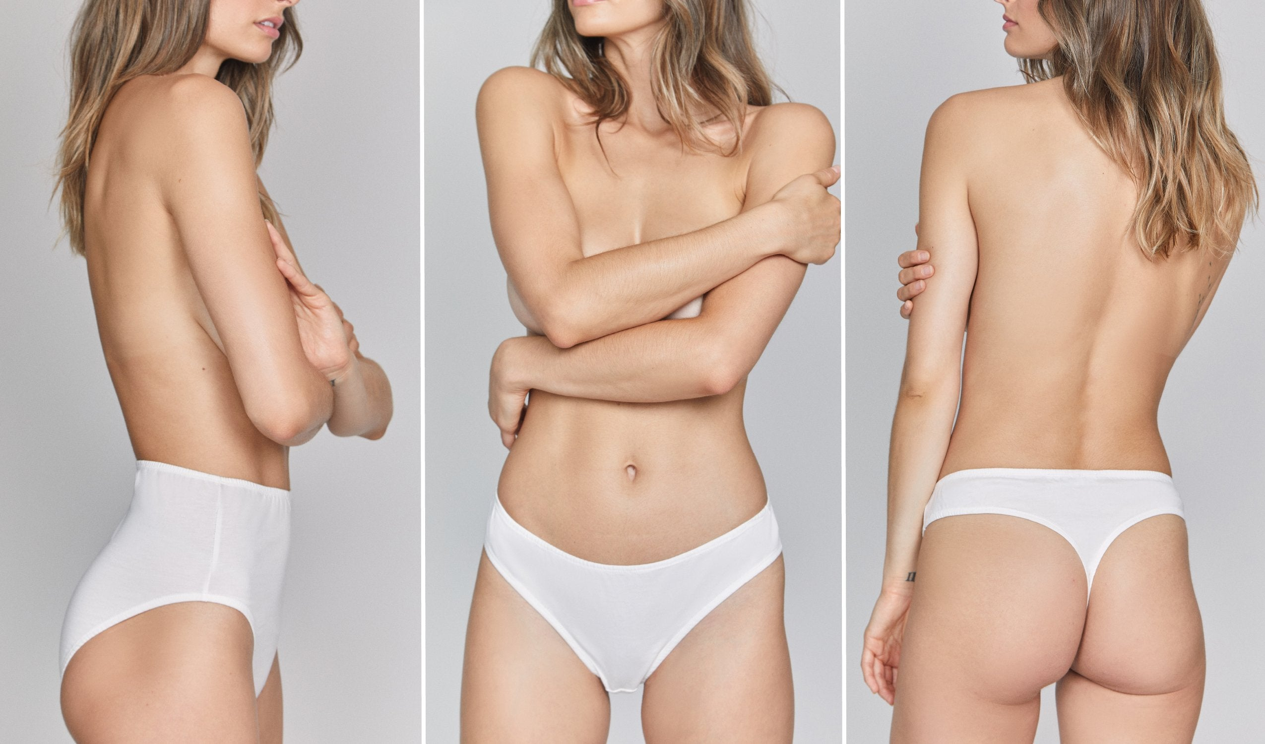 woman wearing three styles of organic cotton underwear, high rise, bikini and thong in white