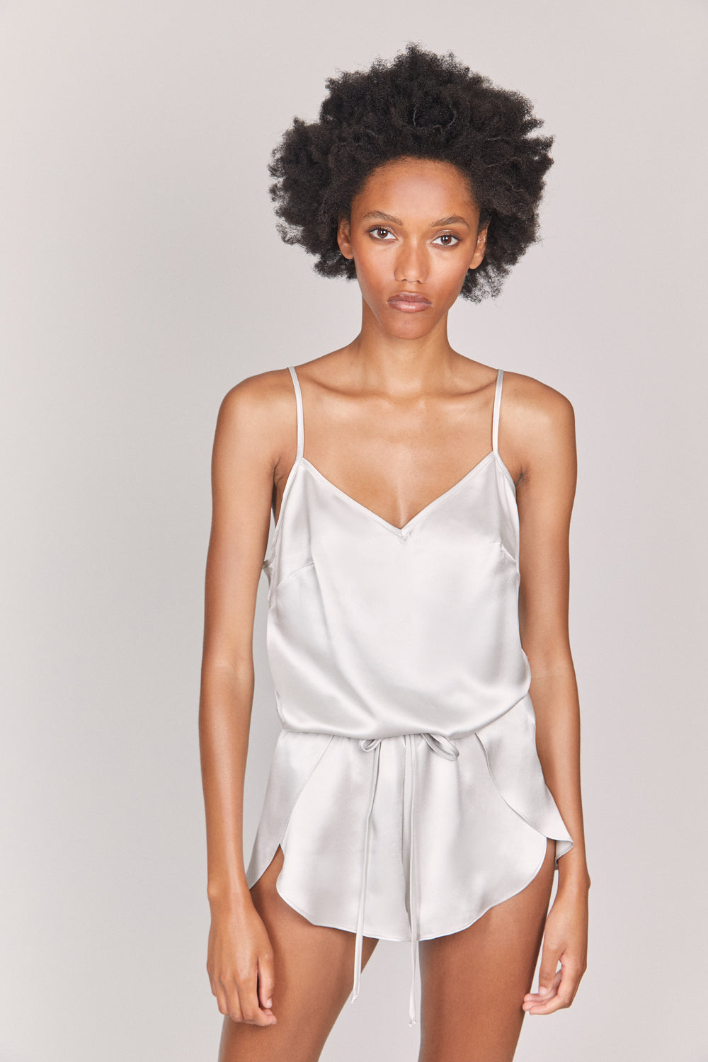 SPLASH Organic Silk Romper in Cloud Grey