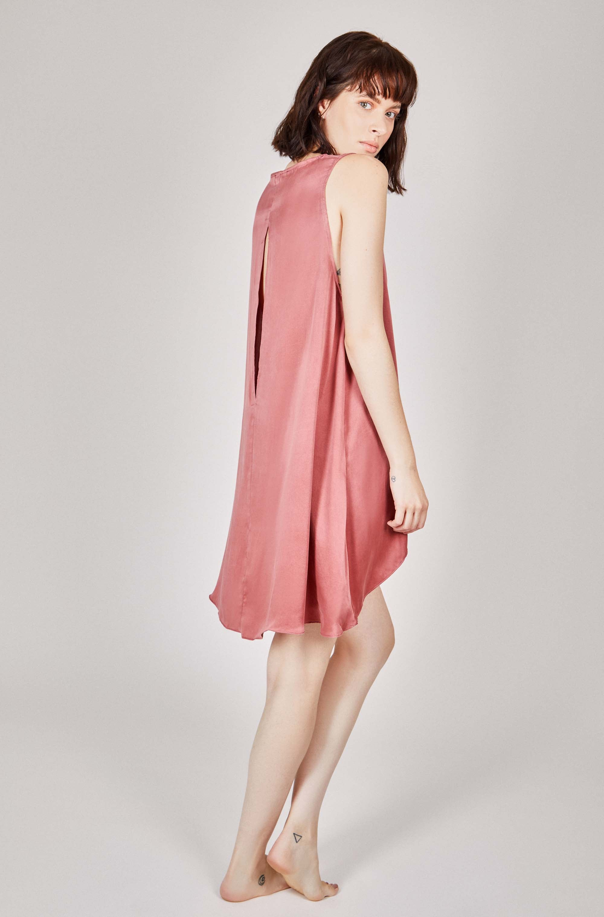 ZONK Organic Silk Chemise in Deep Rose