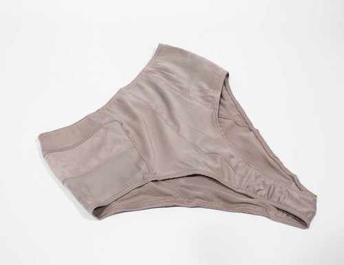 POW High-Waist Organic Silk Brief in Cool Grey