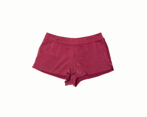 OH Organic Silk Tap Shorts in Deep Claret Red