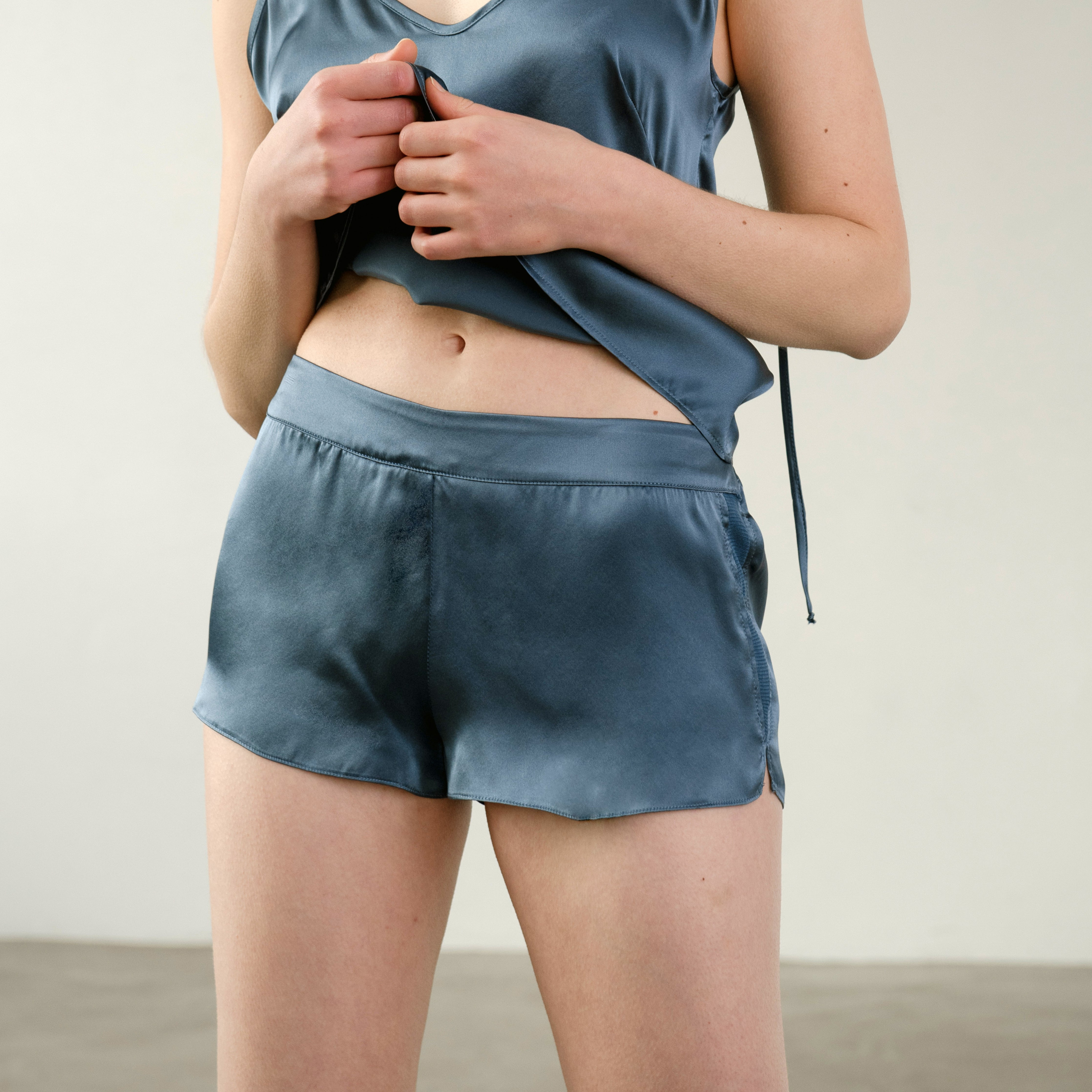 OH Organic Silk Sleep Shorts in Electric Blue