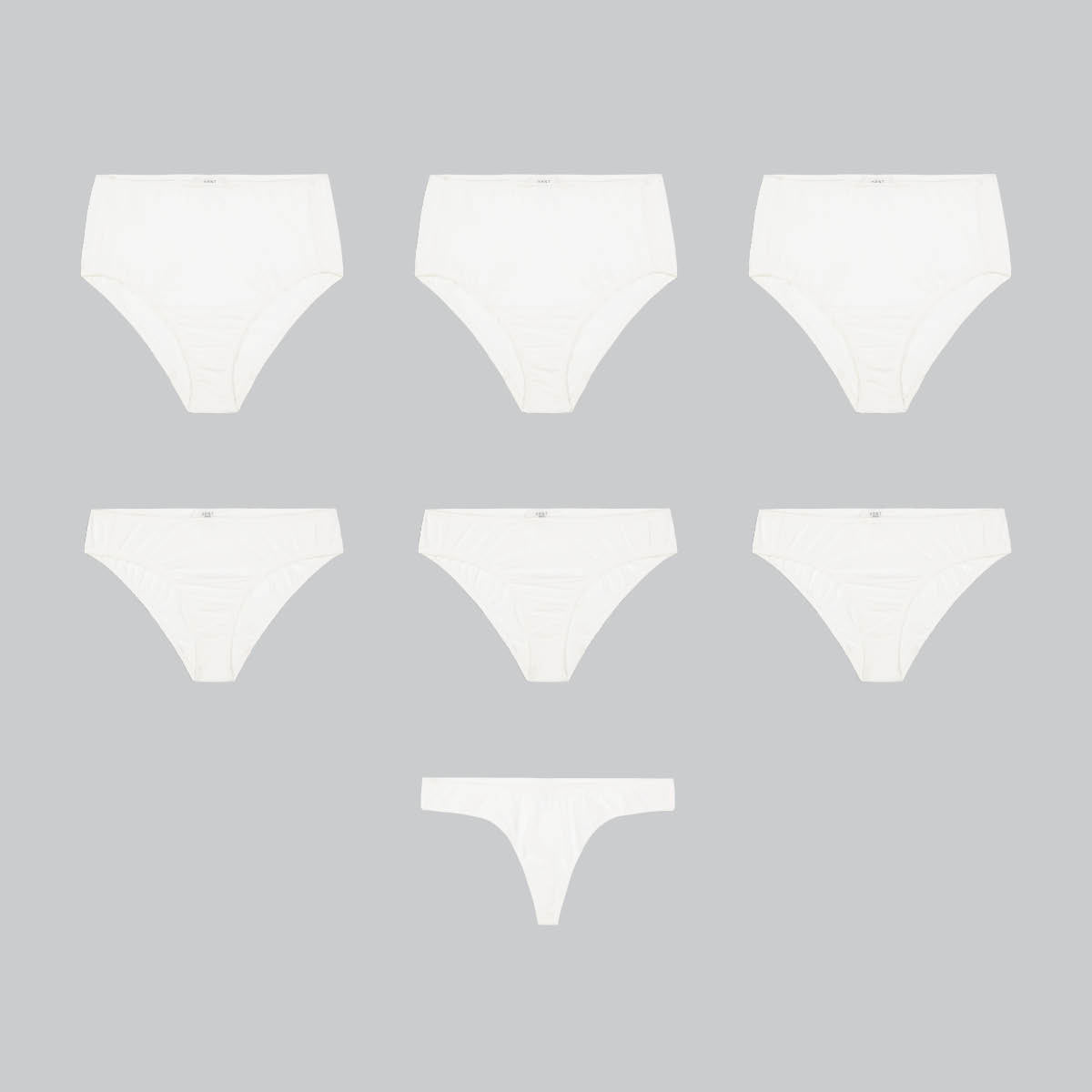 seven organic cotton underwear on grey background