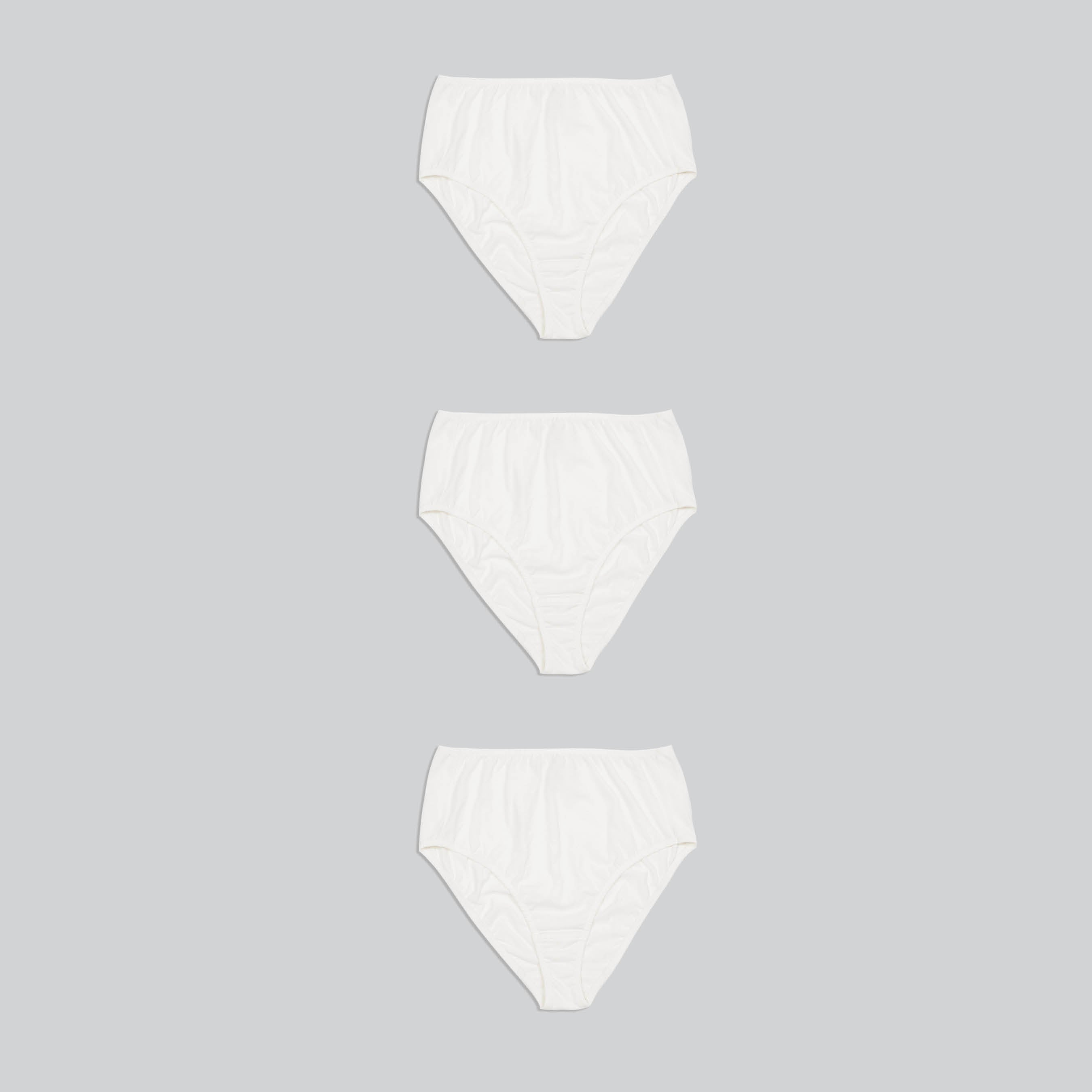 three high waist cotton underwear in white