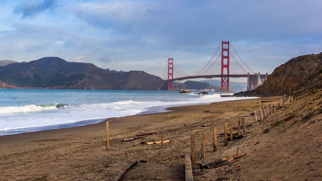 The Golden Gate bridge from a viewpoint on  Marshall beach.