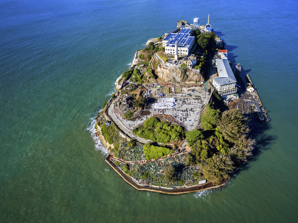 Aerial view of the infamous island of Alcatraz.