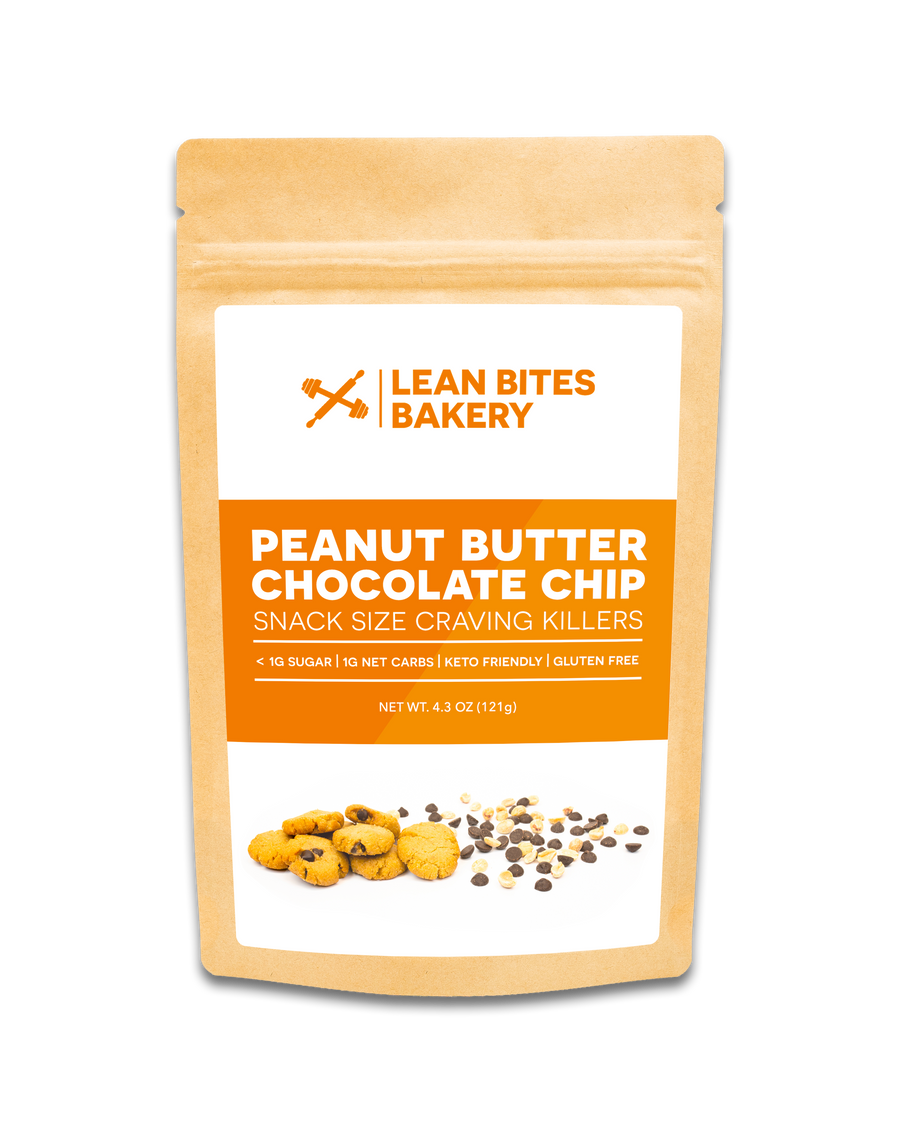 Lean Bites Bakery Mini Cookies – Peanut Butter Chocolate Chip, Pack of 3, 4oz Bags