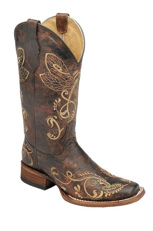"Circle G Women's 11"" Dragonfly Embroidered - Square Toe boots CORRAL BOOT CO., LLC"