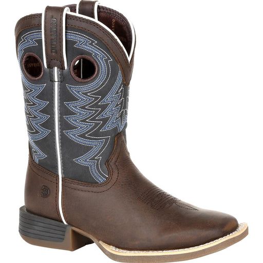 Durango Big Kids - Brown and Blue Western Boot - Square toe boots DURANGO BOOT