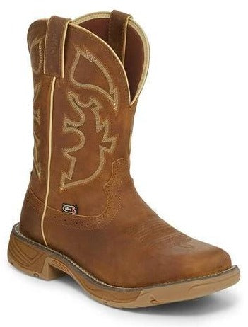 "Justin Men's - 11"" Waterproof Stampede Rush Rustic Tan - Square Toe boots JUSTIN ORIGINAL WORK"