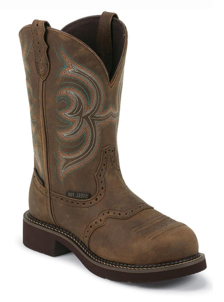 "Justin Women's 11"" Waterproof Aged Bark Gypsy with Perfect Saddle Vamp - Round Steel Toe boots JUSTIN ORIGINAL WORK"