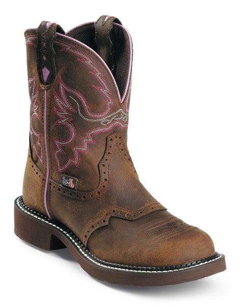"Justin Women's 8"" Aged Bark Gypsy with Perfect Saddle Vamp - Round Steel Toe boots JUSTIN ORIGINAL WORK"