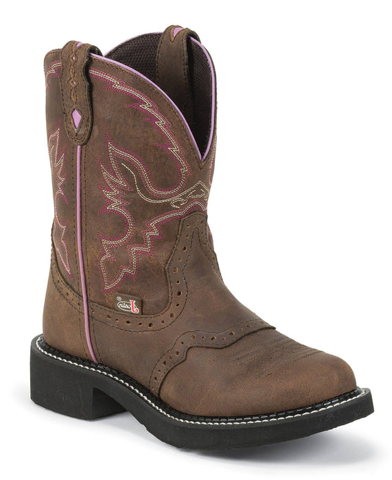 "Justin Women's 8"" Aged Bark with Saddle Vamp Gypsy- Fashion Round Toe boots JUSTIN BOOT CO."