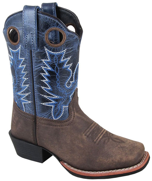 Smoky Mountain Big Kids - Navy Crackle Mesa Boot - Square Toe boots SMOKY MOUNTAIN BOOTS