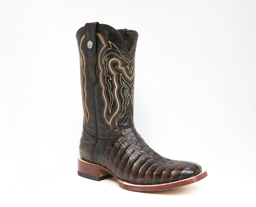 "Tanner Mark Men's - 13"" Marble Brown Caiman Tail - Wide Square toe boots YWD INC."
