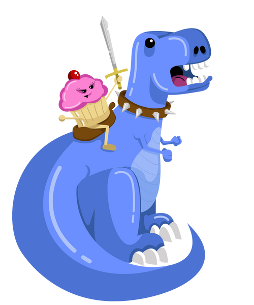 Cupcake Riding a T-Rex Youth Short Sleeve T-Shirt