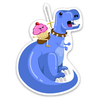 Cupcake Riding a T-Rex Vinyl Sticker