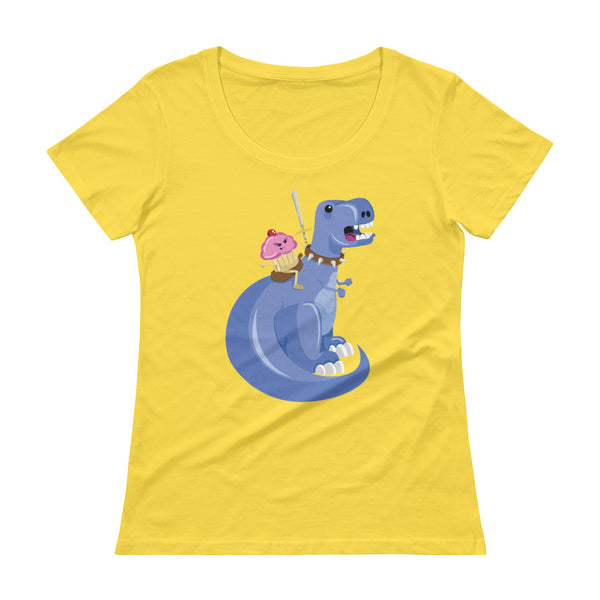 Cupcake Riding T-Rex Ladies Sheer Scoopneck T-Shirt with Tear Away Label