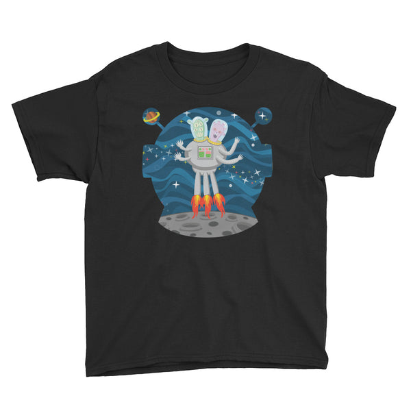 Two-Headed Space Alien | Youth Short Sleeve Unisex Space T-Shirt