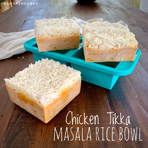 Picture of chicken tikka masala rice bowls frozen in 2cup souper cubes