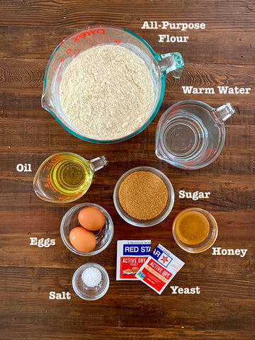 Ingredients for challah recipe