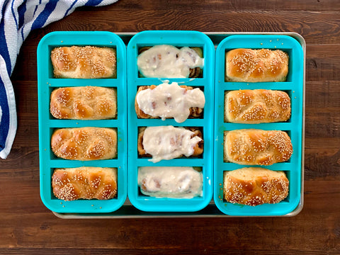 Picture of challah and cinnamon rolls in souper cubes trays