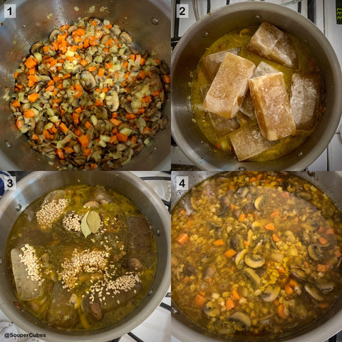 4 images in a 2 by 2 matrix of sauteed veggies, then a pot with 8 cups of broth (previously frozen in 1-cup souper cubes trays), barley in the thawing broth, and a finished mushroom barley soup in the all-clad pot