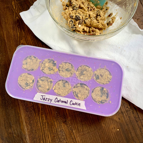 the cookie tray by souper cubes filled with jazzy oatmeal cookie dough