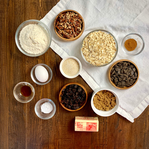 Image of ingredients used to make jazzy oatmeal cookies