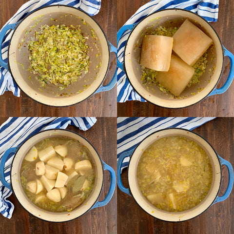 4 pictures in a 2x2 grid showing the process of making potato leek soup in a pot