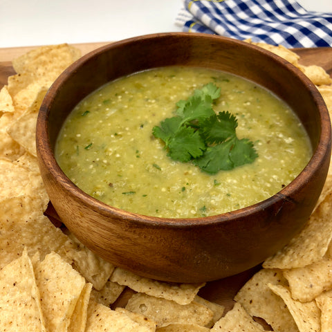 bowl of salsa verde with chips