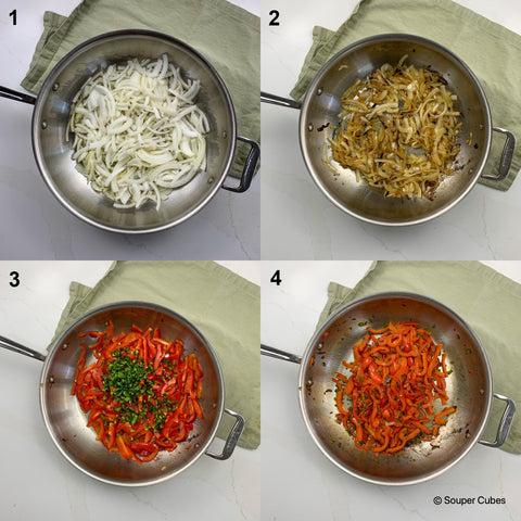 2x2 image of onions, bell pepper, and jalapeno sauted in a stainless steel pan