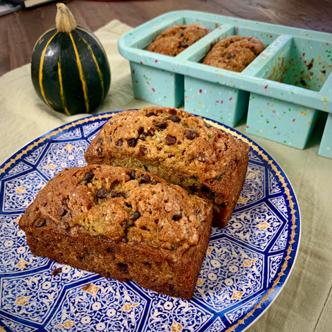 image of baked zucchini bread with chocolate chips