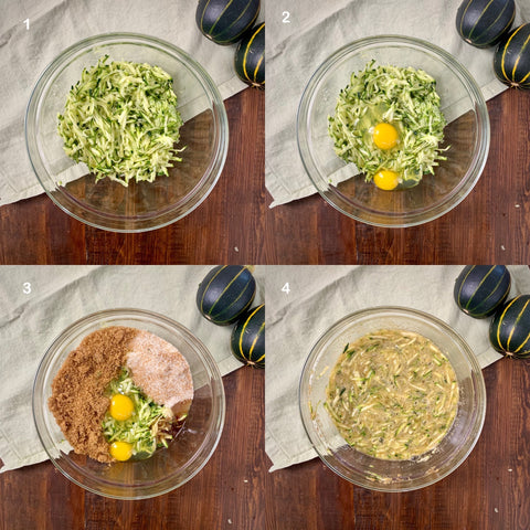 mixing the wet ingredients together in a bowl for zucchini bread recipe by souper cubes