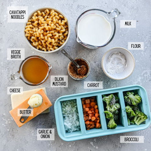ingredients for one pot veggie mac and cheese