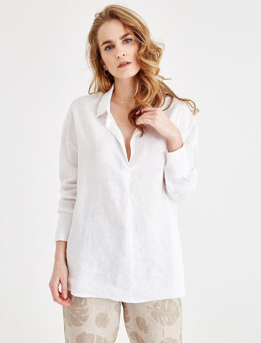 Beige Casual Cut Linen Shirt