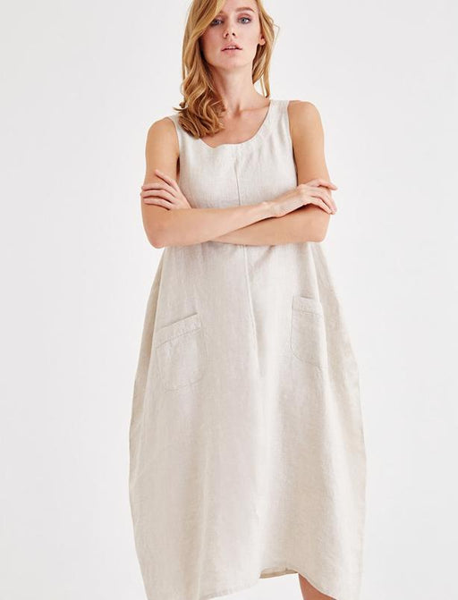 Beige Casual Cut Linen Dress